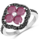 2.29 Carat Genuine Ruby and Black Spinel .925 Sterling Silver Ring
