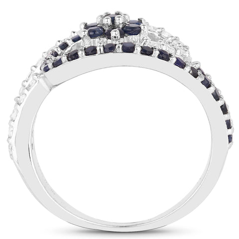 0.92 Carat Genuine Blue Sapphire and White Topaz .925 Sterling Silver Ring
