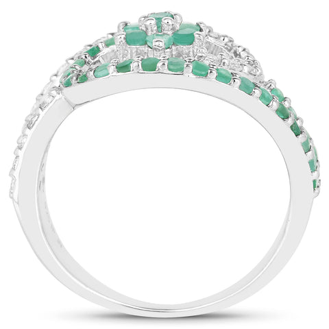 0.72 Carat Genuine Emerald and White Topaz .925 Sterling Silver Ring