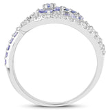 0.76 Carat Genuine Tanzanite and White Topaz .925 Sterling Silver Ring