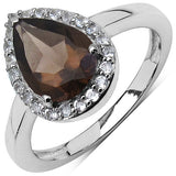 1.94 Carat Genuine Smoky Quartz & White Topaz .925 Sterling Silver Solitaire Ring