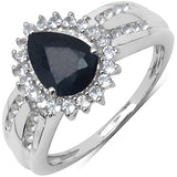 1.74 Carat Genuine Blue Sapphire, White Topaz .925 Sterling Silver Solitaire Ring