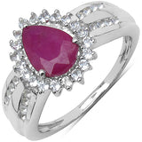 1.61 Carat Genuine Ruby, White Topaz .925 Sterling Silver Solitaire Ring