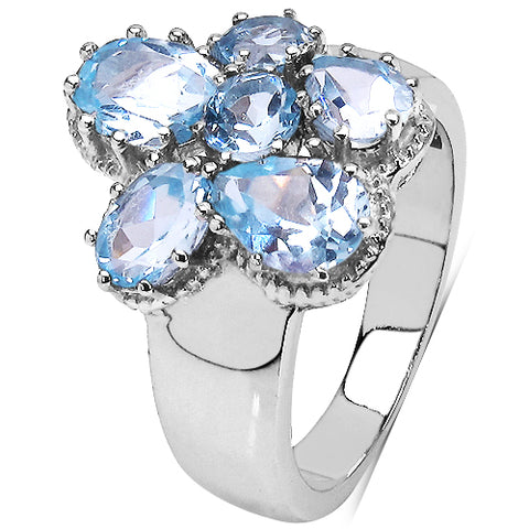 3.56 Carat Genuine Blue Topaz .925 Sterling Silver Cluster Ring