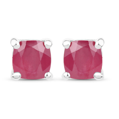 3.60 Carat Emerald, Glass Filled Ruby and Glass Filled Sapphire .925 Sterling Silver Earrings
