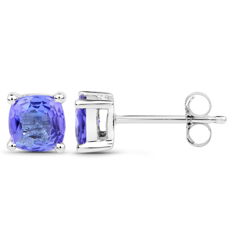1.10 Carat Genuine Tanzanite 14K White Gold Earrings