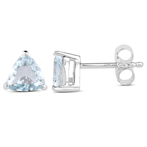 1.26 Carat Genuine Aquamarine .925 Sterling Silver Earrings