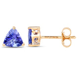 0.86 Carat Genuine Tanzanite 14K Yellow Gold Earrings