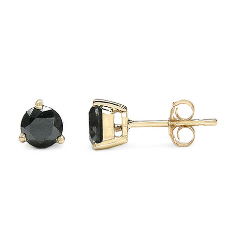 14K Yellow Gold Plated 0.83 Carat Genuine Black Diamond .925 Sterling Silver Earrings
