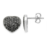 0.56 Carat Genuine Black Diamond .925 Sterling Silver Earrings