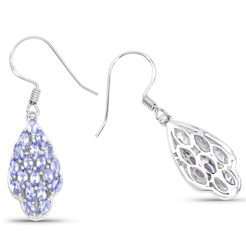 3.04 Carat Genuine Tanzanite .925 Sterling Silver Earrings