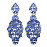 3.56 Carat Genuine Tanzanite .925 Sterling Silver Earrings