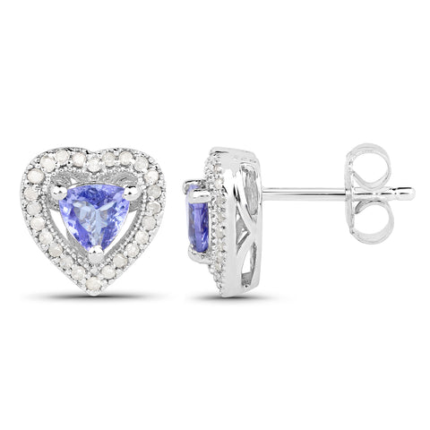 1.20 Carat Genuine Tanzanite & White Diamond .925 Sterling Silver Earrings