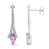 1.24 Carat Genuine Amethyst and White Topaz .925 Sterling Silver Earrings