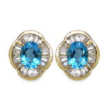 14K Yellow Gold Plated 7.40 Carat Genuine Swiss Blue Topaz & White Topaz .925 Sterling Silver Earrings