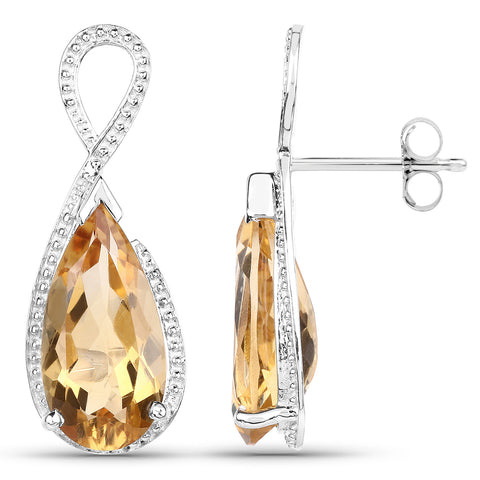 10.04 Carat Genuine Citrine .925 Sterling Silver Earrings