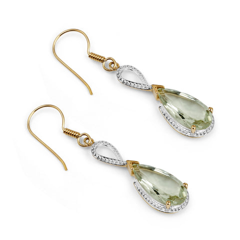 14K Yellow Gold Plated 10.10 Carat Genuine Green Amethyst .925 Sterling Silver Earrings
