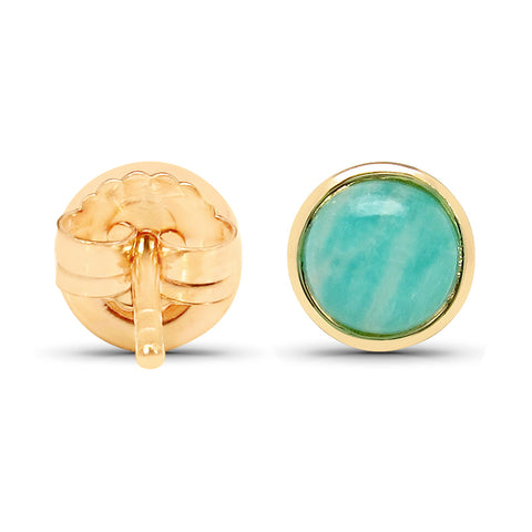 18K Yellow Gold Plated 2.00 Carat Genuine Amazonite .925 Sterling Silver Earrings