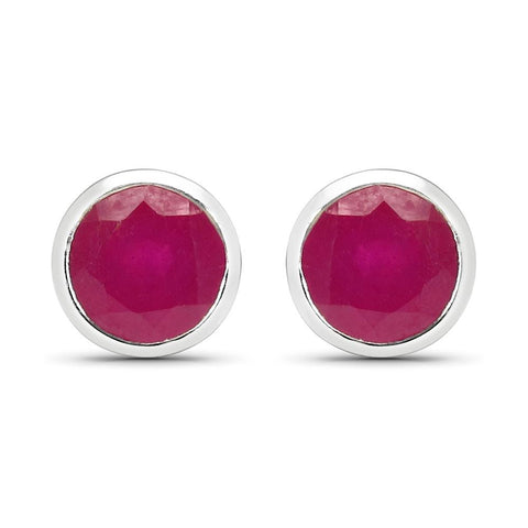 LoveHuang 1.80 Carats Genuine Ruby Round Bezel Stud Earrings Solid .925 Sterling Silver With Rhodium Plating