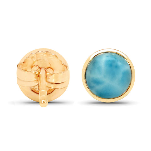 18K Yellow Gold Plated 2.42 Carat Genuine Larimar .925 Sterling Silver Earrings
