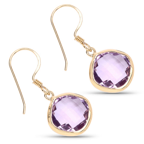 14K Yellow Gold Plated 11.86 Carat Genuine Amethyst .925 Sterling Silver Earrings
