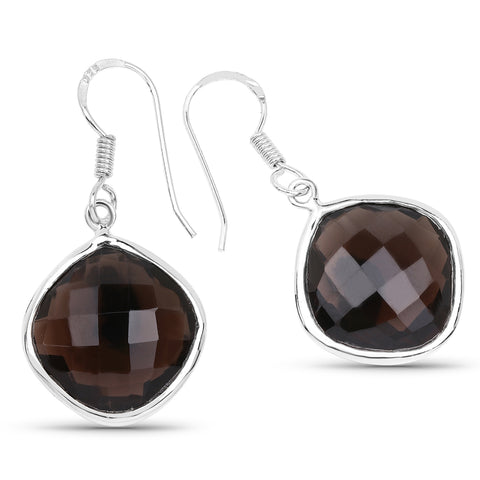 22.80 Carat Genuine Smoky Quartz .925 Sterling Silver Earrings