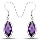 8.16 Carat Genuine Amethyst .925 Sterling Silver Earrings
