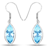 9.76 Carat Genuine Blue Topaz .925 Sterling Silver Earrings
