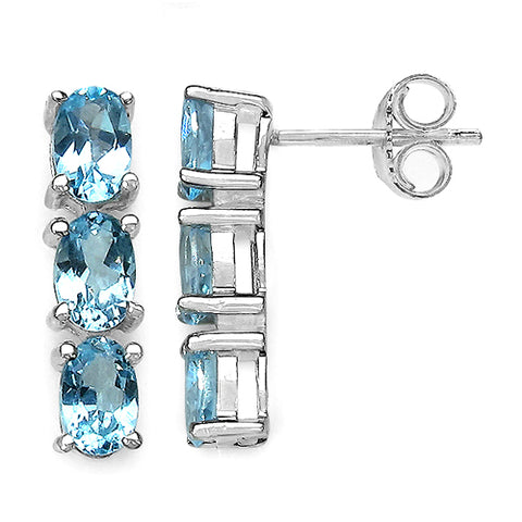 3.06 Carat Genuine Blue Topaz Sterling Silver Earrings