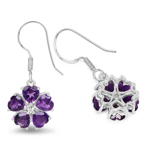 4.58 Carat Genuine Amethyst and White Topaz .925 Sterling Silver Earrings