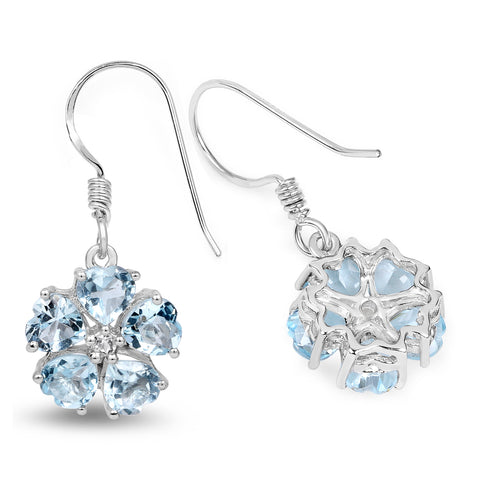 5.08 Carat Genuine Blue Topaz and White Topaz .925 Sterling Silver Earrings