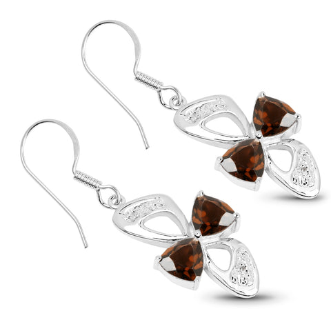 4.02 Carat Genuine Smoky Quartz and White Topaz .925 Sterling Silver Earrings