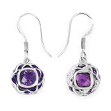 1.50 Carat Genuine Amethyst .925 Sterling Silver Earrings