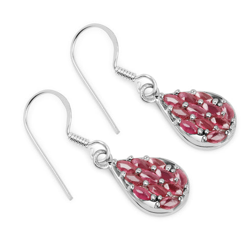2.64 Carat Genuine Ruby .925 Sterling Silver Earrings