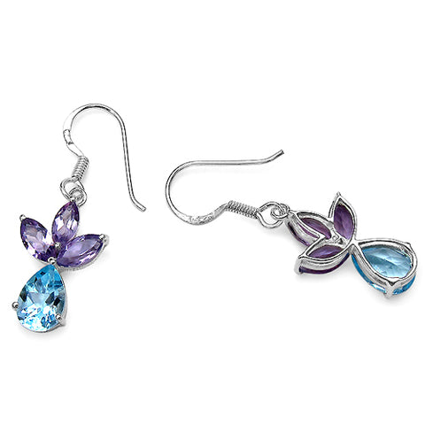 6.90 ct. t.w. Blue Topaz and Amethyst Earrings in Sterling Silver
