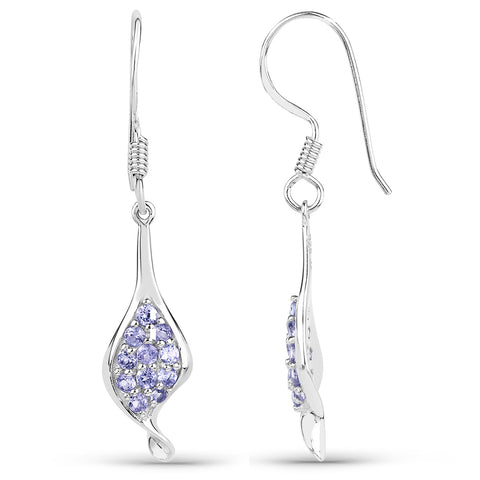 0.75 Carat Genuine Tanzanite .925 Sterling Silver Earrings