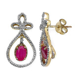 14K Yellow Gold Plated 1.12 Carat Genuine Ruby & White Diamond .925 Sterling Silver Earrings