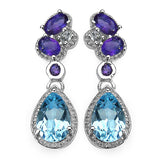 2.60 Carat Blue Topaz Earrings with 1.10 ct. t.w. Multi-Gems in Sterling Silver