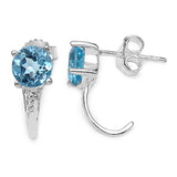2.20 Carat Genuine Blue Topaz Sterling Silver Earrings
