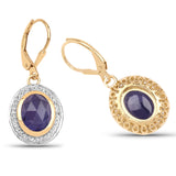 14K Yellow Gold Plated 7.42 Carat Genuine Tanzanite and White Topaz .925 Sterling Silver Earrings