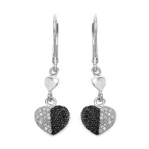 0.45 Carat Genuine Black Diamond & White Diamond .925 Streling Silver Earrings