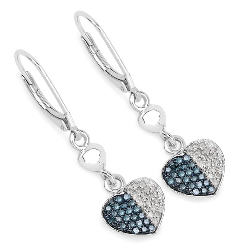 0.42 Carat Genuine Blue Diamond and White Diamond .925 Sterling Silver Earrings