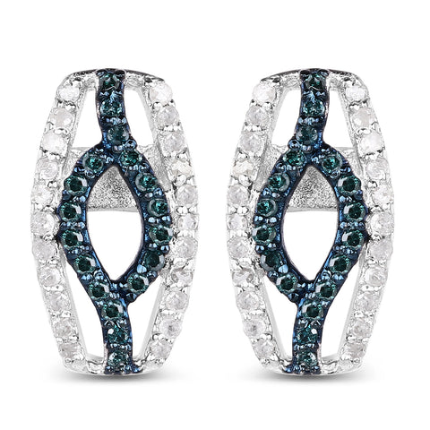 0.42 Carat Genuine Blue Diamond & White Diamond .925 Sterling Silver Earrings