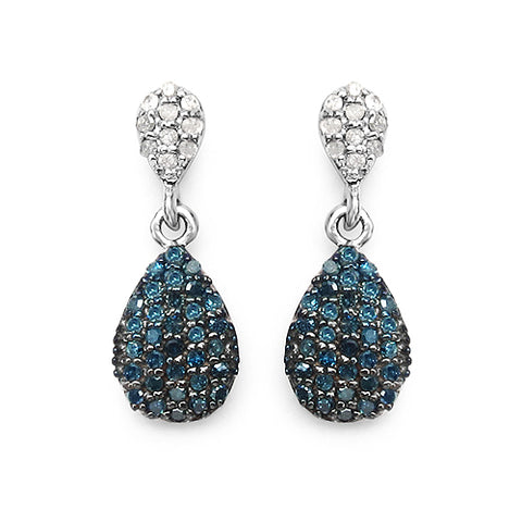 0.47 Carat Genuine Blue Diamond & White Diamond .925 Sterling Silver Earrings