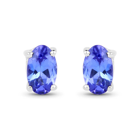 0.48 Carat Genuine Tanzanite 14K White Gold Earrings