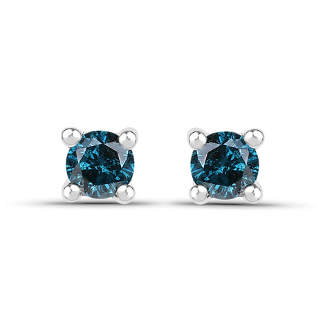 0.20 Carat Genuine Blue Diamond .925 Sterling Silver Earrings