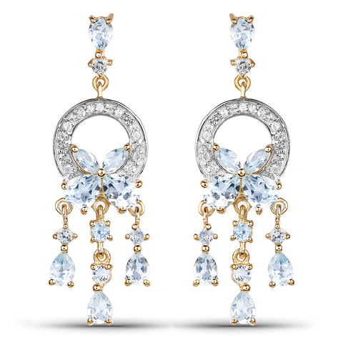 14K Yellow Gold Plated 3.89 Carat Genuine Blue Topaz & White Topaz .925 Sterling Silver Earrings