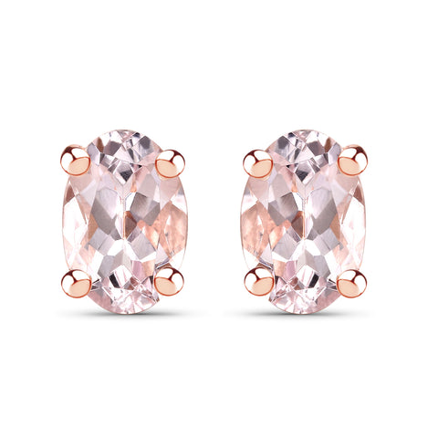 14K Rose Gold Plated 0.80 Carat Genuine Morganite .925 Sterling Silver Earrings