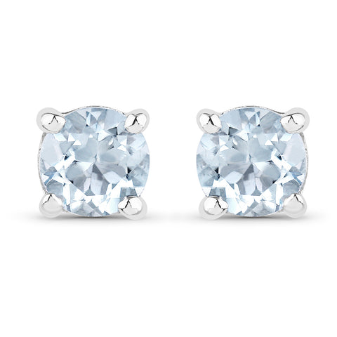 0.44 Carat Genuine Aquamarine .925 Sterling Silver Earrings