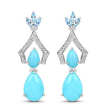 7.05 Carat Genuine Turquoise, Swiss Blue Topaz & White Topaz .925 Sterling Silver Earrings